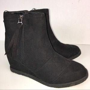 "Shoes - Black Wedge Faux Suede Booties 2.75"" Heel NEW"